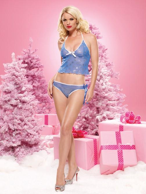 Новогоднее белье SNOWFLAKE BLUE S-M