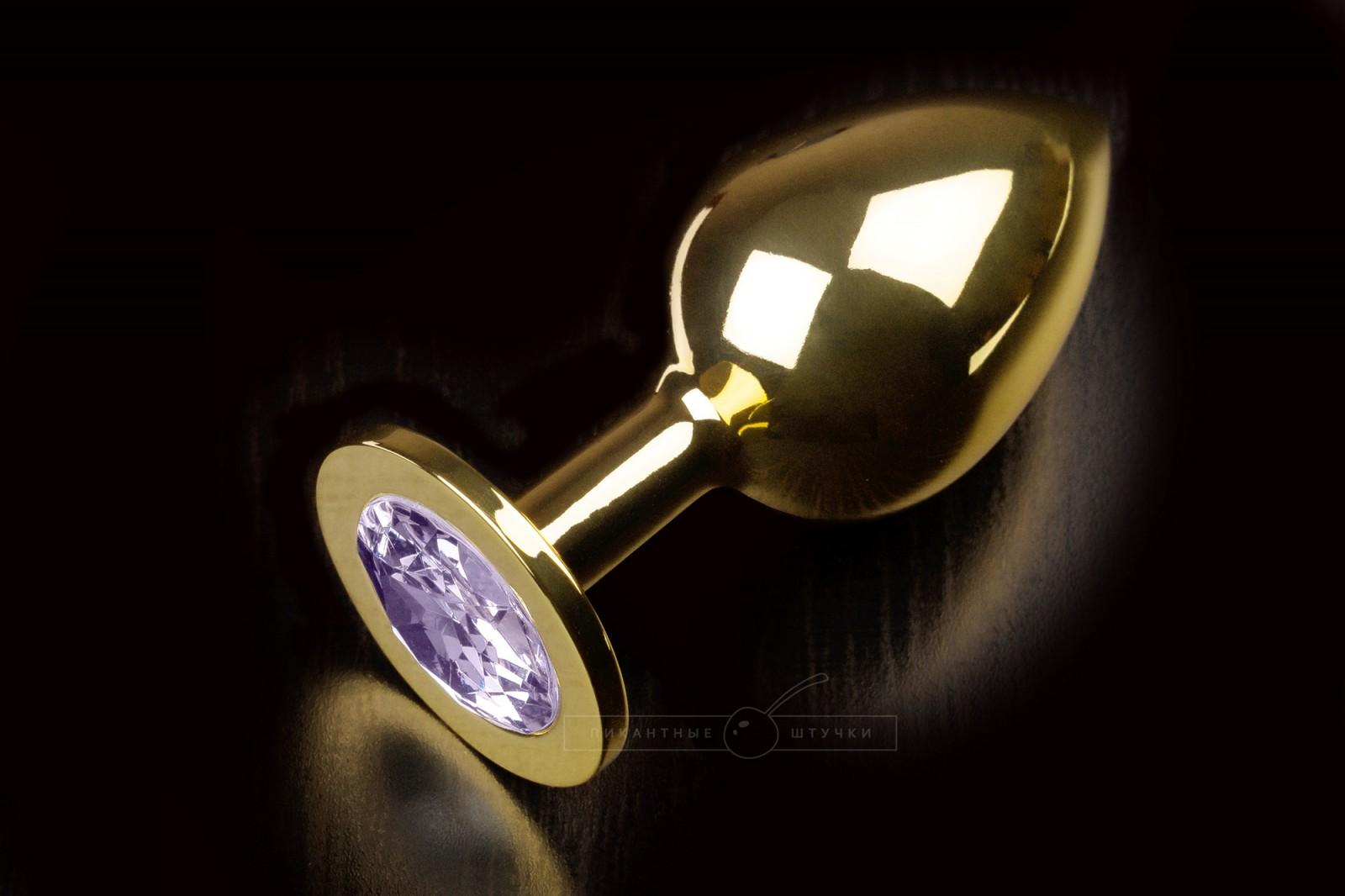 Большая золотистая анальная пробка с кристаллом, сиреневый