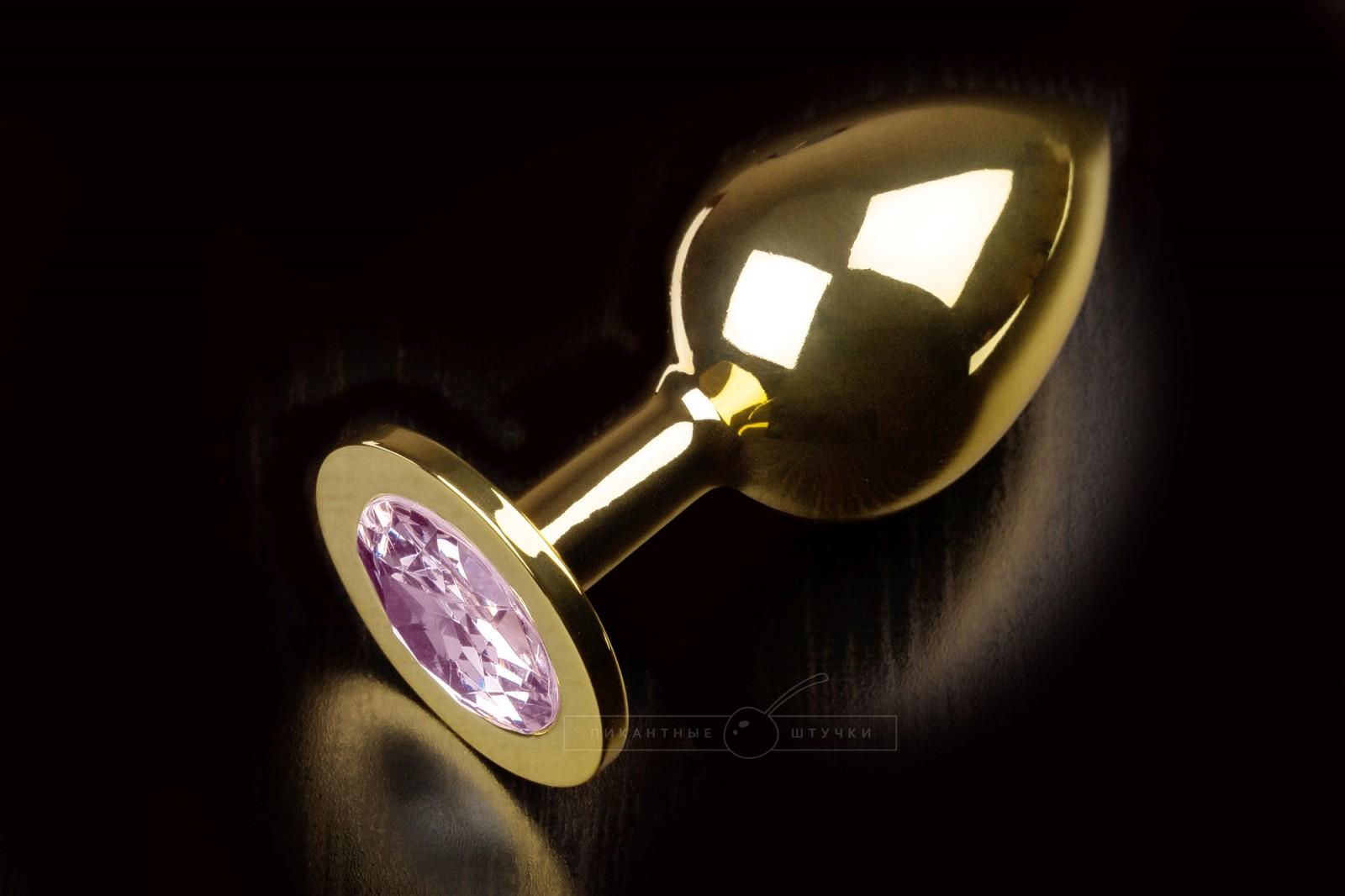 Большая золотистая анальная пробка с кристаллом, розовый