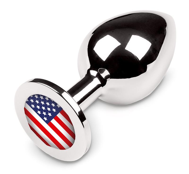 Большая анальная пробка с американским флагом, 9 см