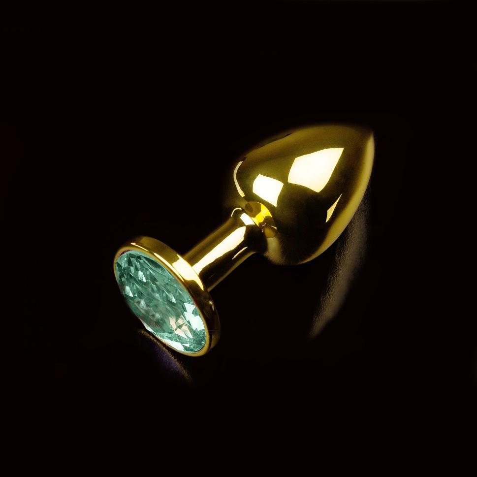 Малая золотистая анальная пробка с кристаллом, зеленый