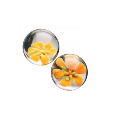 Вагинальные шарики TLC CyberGlass Ben Wa Balls, желтые
