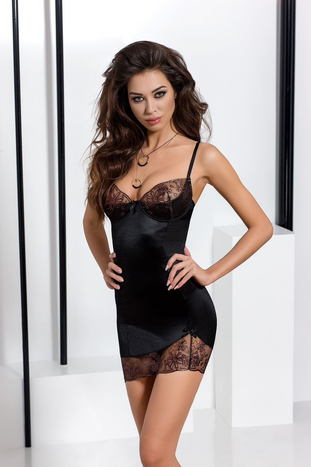 Черное платье Baby Doll Passion BRIDA CHEMISE, S/M
