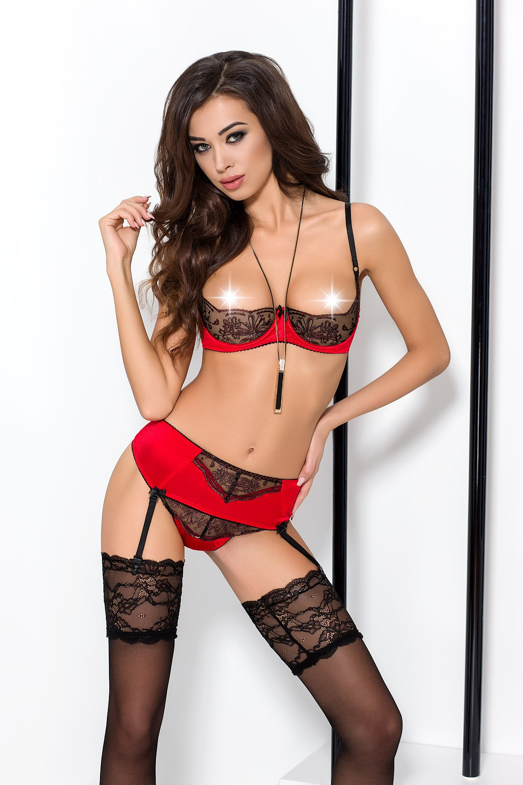Комплект сексуального белья Passion BRIDA SET WITH OPEN BRA, L/XL