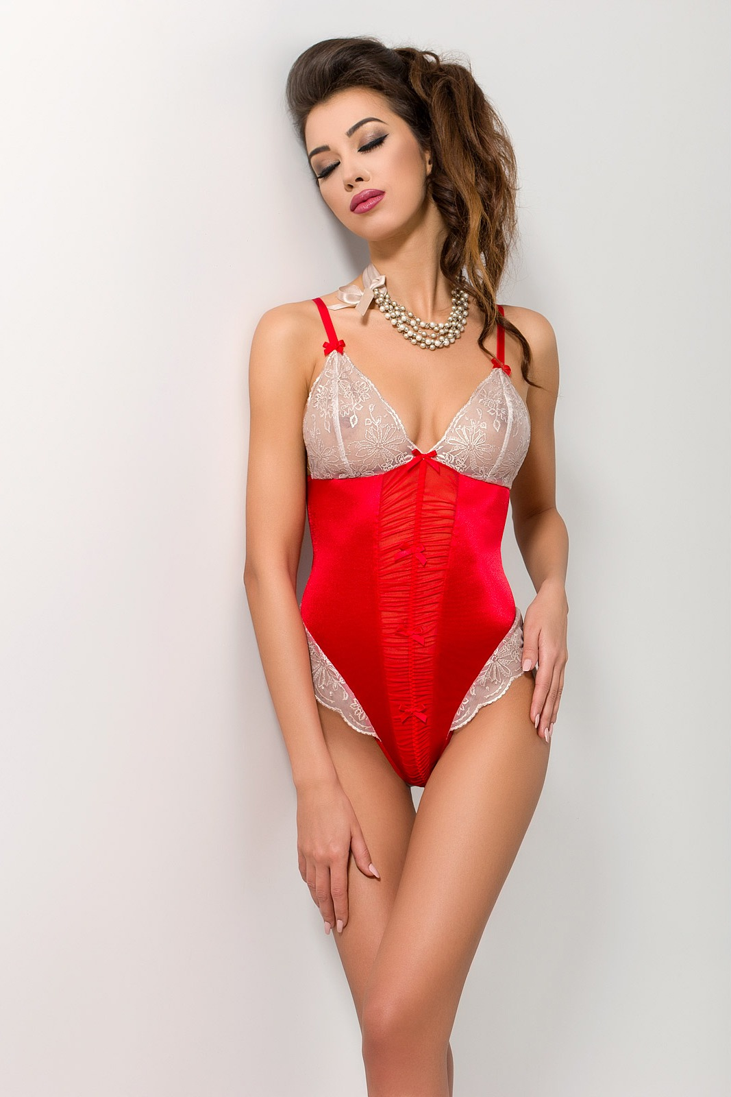 Изысканное красное боди Passion LORAINE BODY, S/M