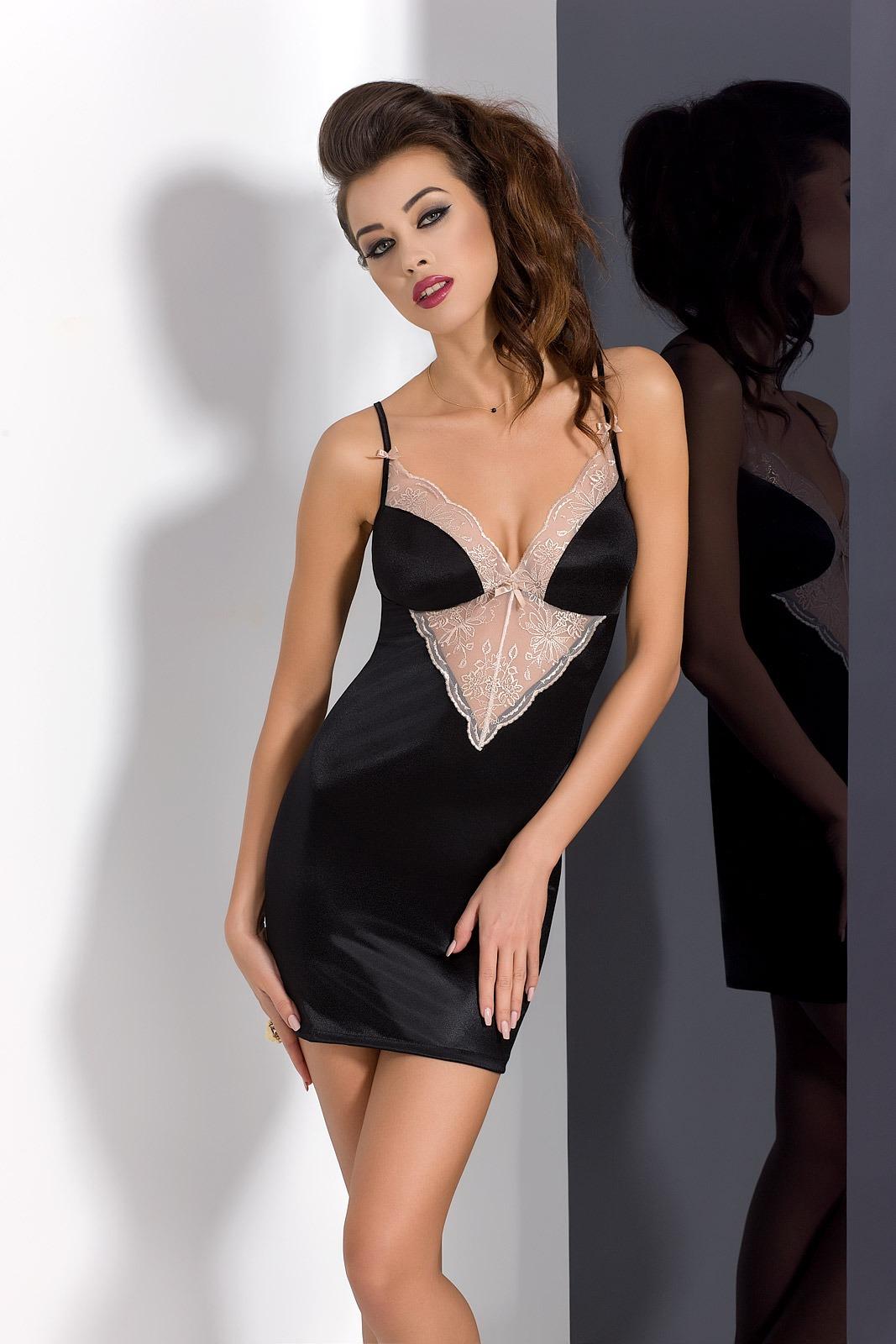 Женская ночная сорочка Passion LOTUS CHEMISE, черная, XXL/XXXL