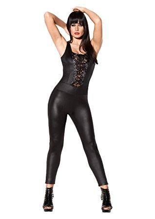 Сексуальный комбинезон CATSUIT WETLOOK BLACK L/XL