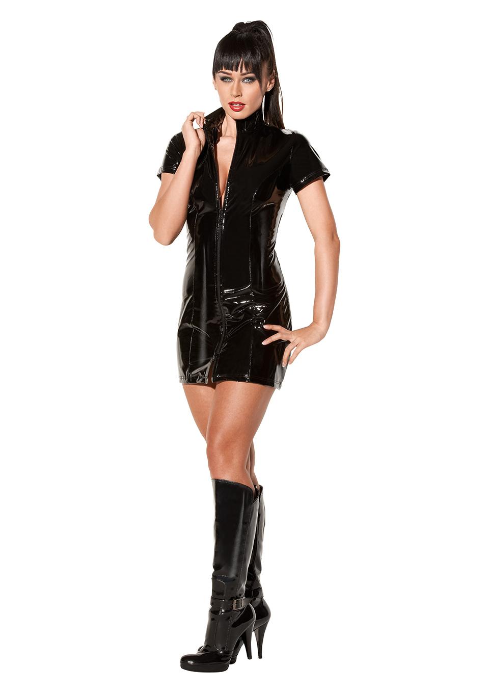 Черное лакированное платье с двойной молнией Avanza, размер М
