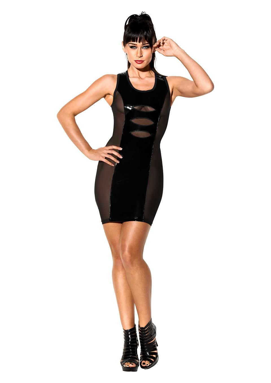 Черное платье с лакироваными вставками Avanza, размер M
