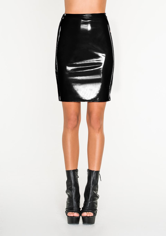Черная лакированная юбка Avanza, размер S/M