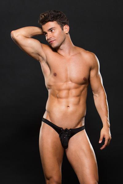Мужские трусы со шнуровкой Low-Rise Laceup Thong S/M, черные