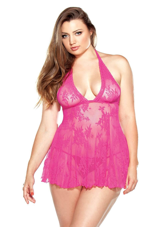 Кружевной пеньюар с открытой спиной Fantasy Lingerie, розовый