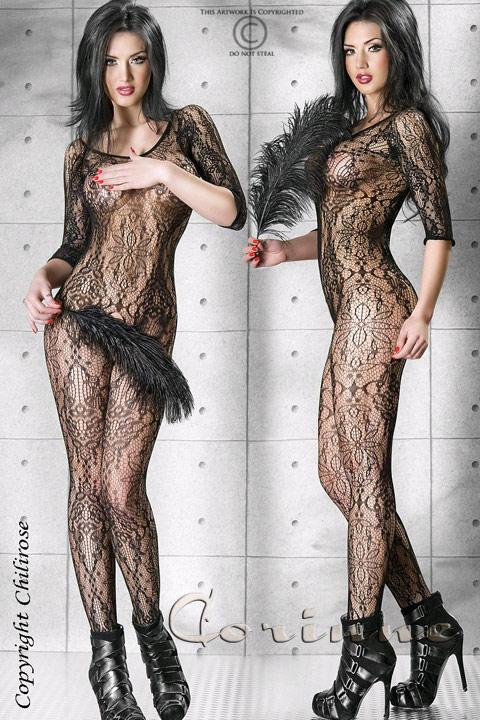 Ажурный комбинезон S/M Bodystocking All Flowers Chilirose