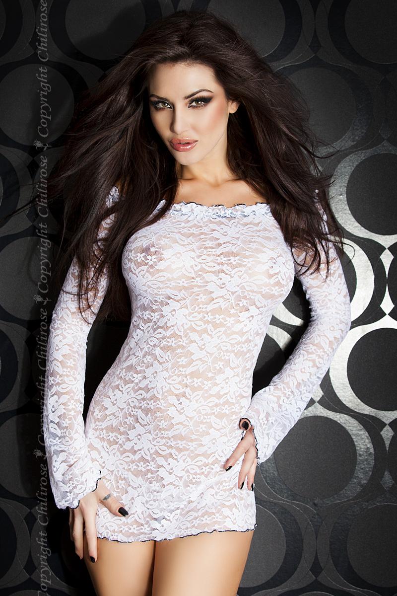 Белое эротическое мини-платье Chilirose, размер L