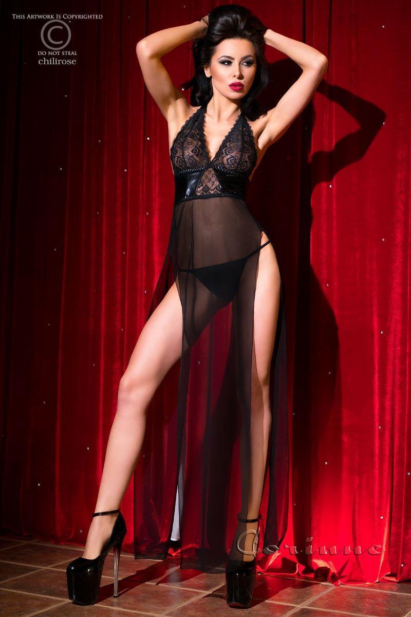 Длинный пеньюар с кружевом Chilirose Long Gown + String S/M Black