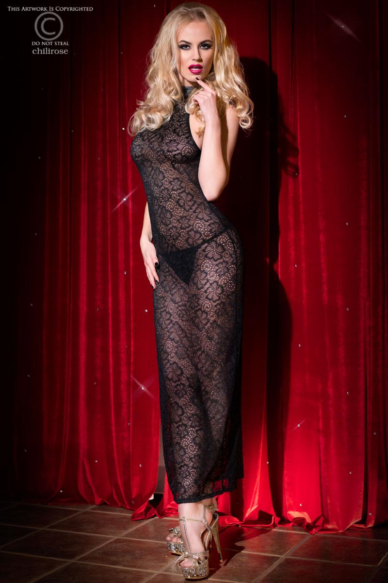 Эротичное длинное кружевное платье Chilirose, размер S