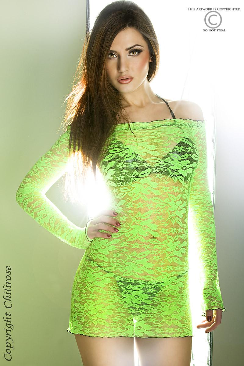 Зеленое эротическое мини-платье Chilirose, размер S