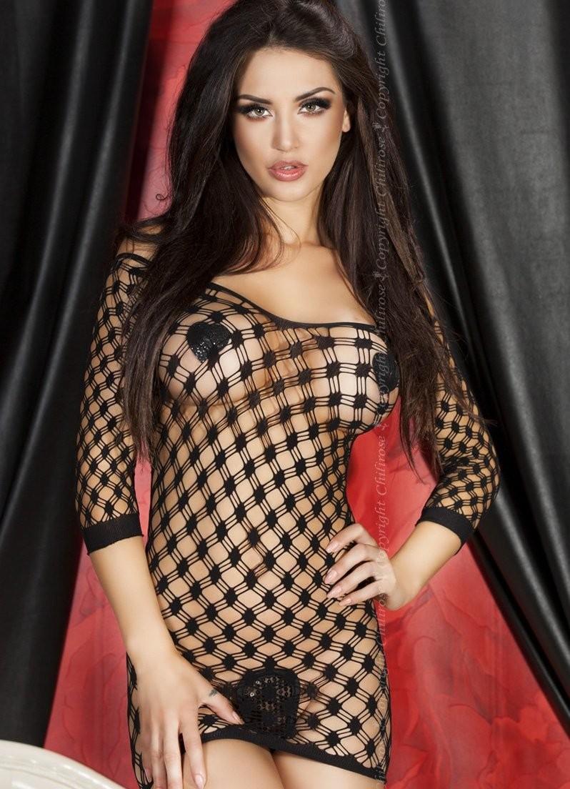 Сексуальное черное платье в сетку Chilirose, размер S/M