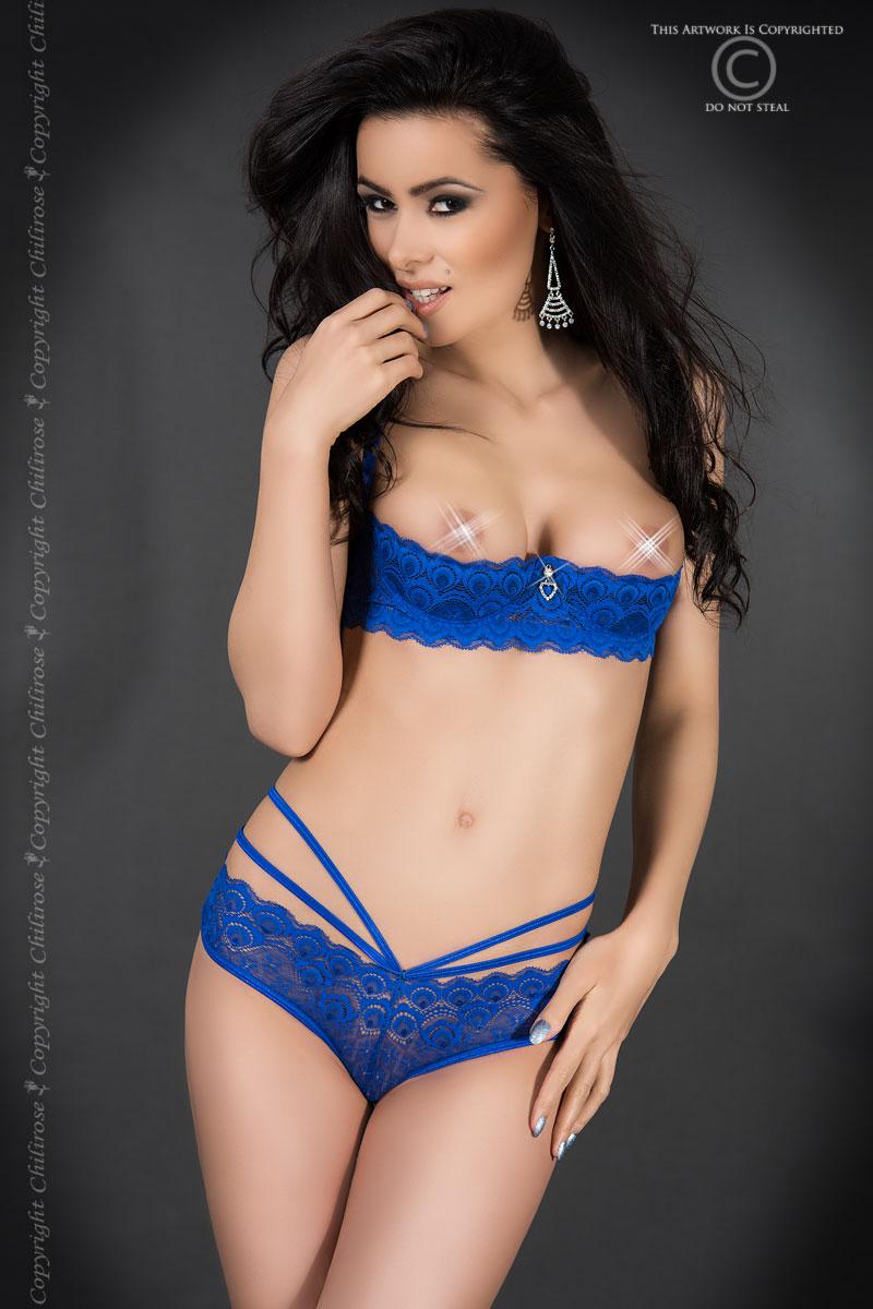 Синий кружевной комплект с открытой грудью Chilirose, размер M