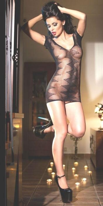 Мини-платье в сеточку Chilirose Seamless Minidress SM Black