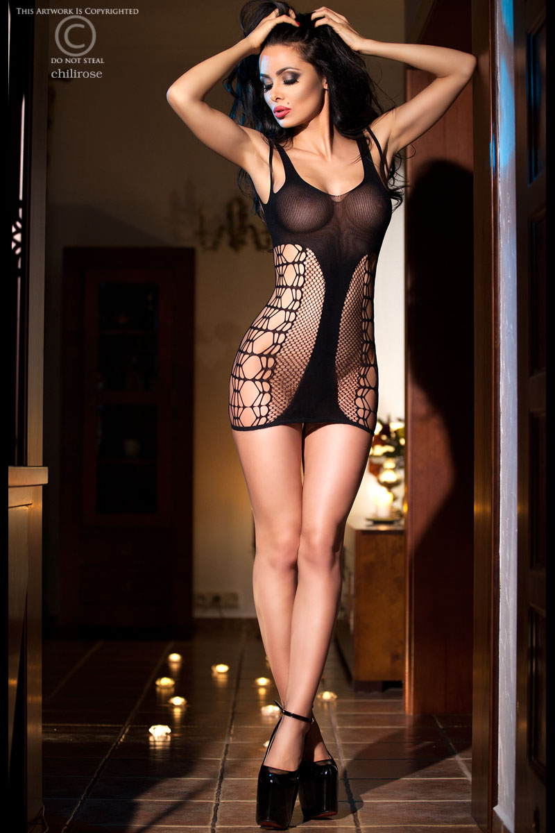 Эротическое платье с сетчатыми вставками Chilirose, размер S/M