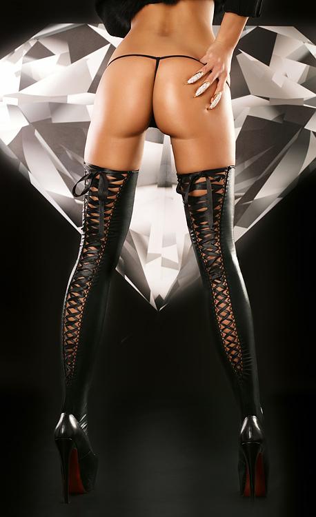 Черные чулки со шнуровкой Lolitta Lacing Stockings, размер S/M