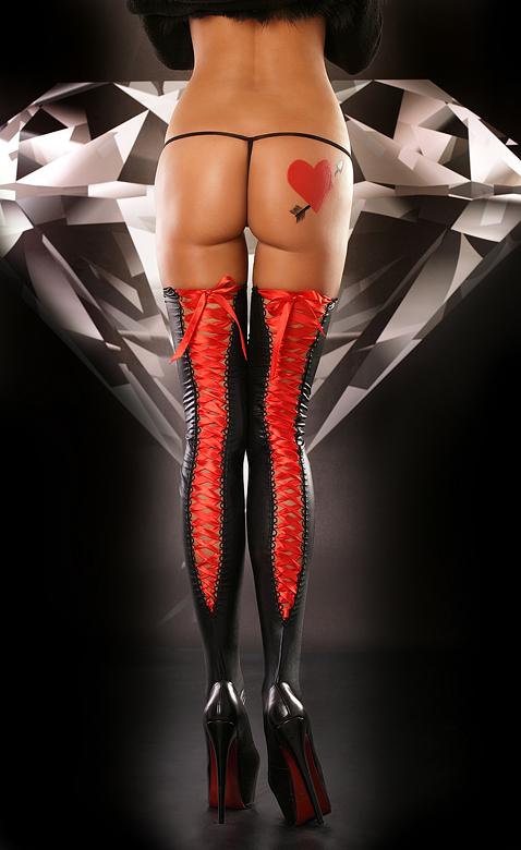 Красно-черные чулки со шнуровкой Lolitta Lacing Stockings, размер S/M