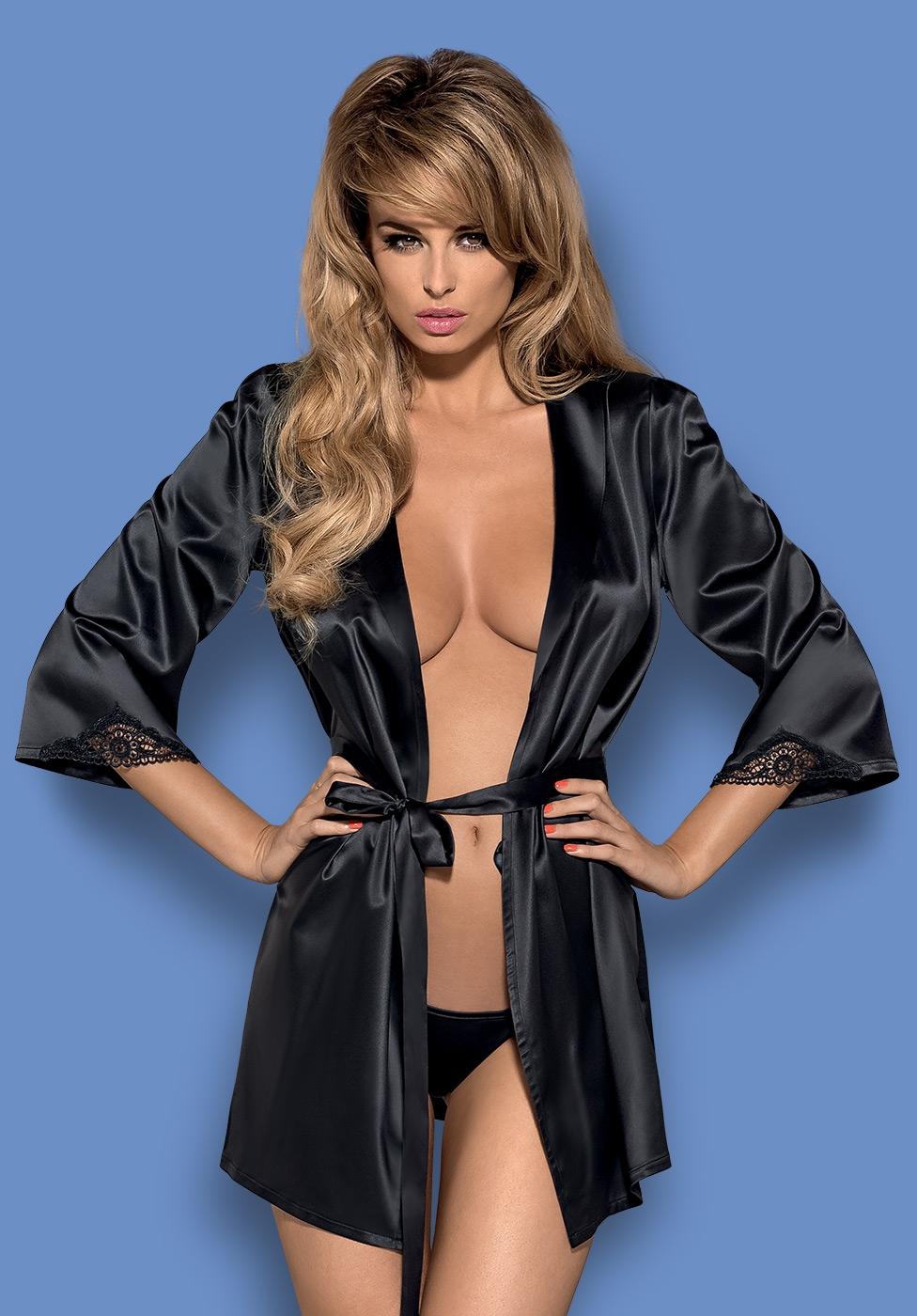 Комплект Obsessive Satinia Robe (Черный, S/M)