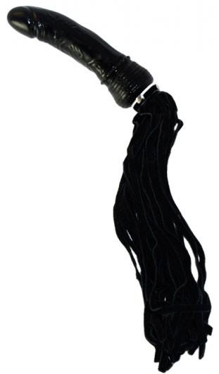 Замшевая плеть с рукояткой-фаллосом (30 хвостная)