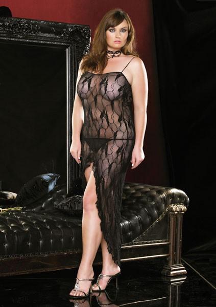 Длинное платье с разрезом BUTTERFLY DRESS BLACK OS