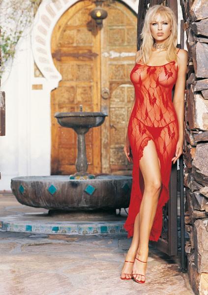 Длинное платье с разрезом BUTTERFLY DRESS RED OS