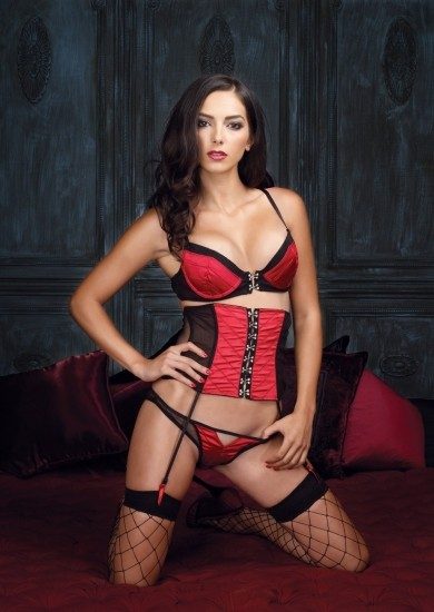 Секси набор UNDERWIRE BRA RED BLACK SMALL