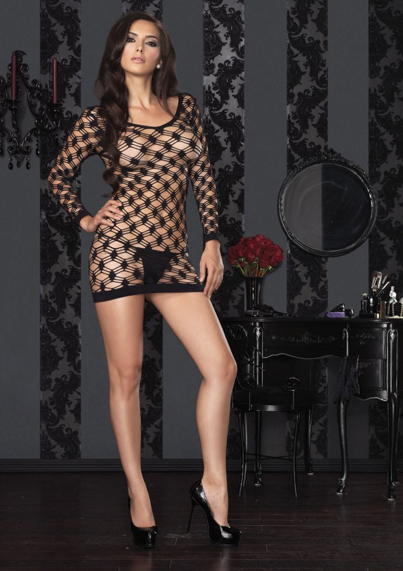 Мини платье HARDCORE NET LONG O-S BLACK