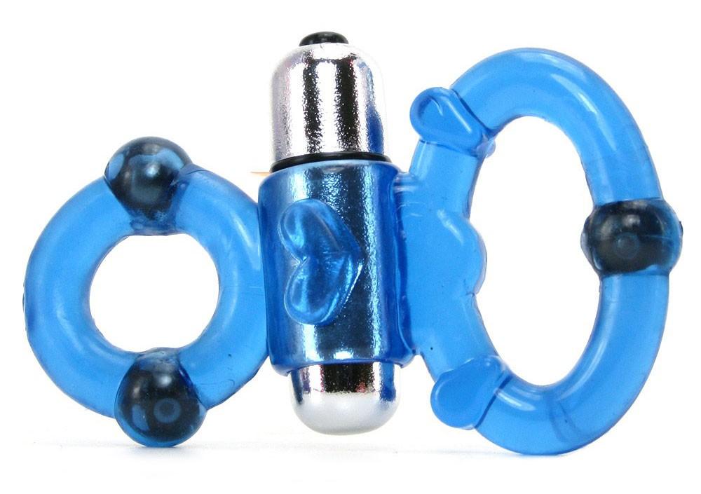 Эрекционная вибронасадка MAGNETIC POWER DUAL BLUE