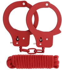 Набор Bondx Metal Cuffs & Love Rope Set, красный