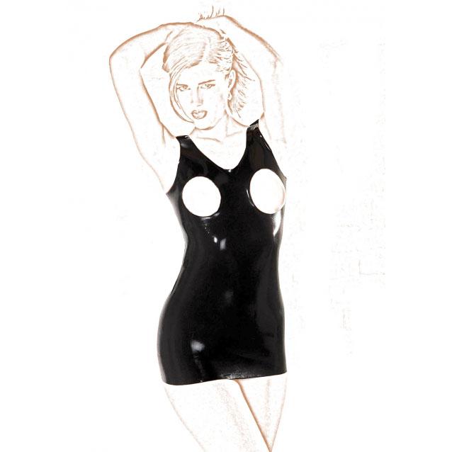 Латексное платье с открытой грудью