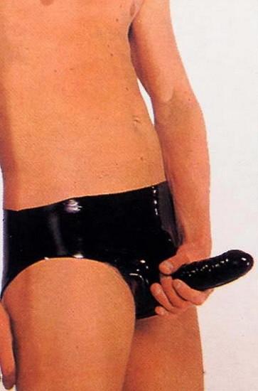 Трусы латексные со внутренним страпоном LATEX SHEATH PANTS BLACK SMALL