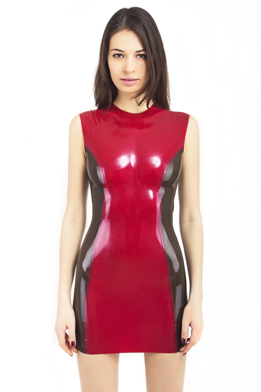 Латексное платье с прозрачными вставками по бокам Latex Dress With Transparent Sides