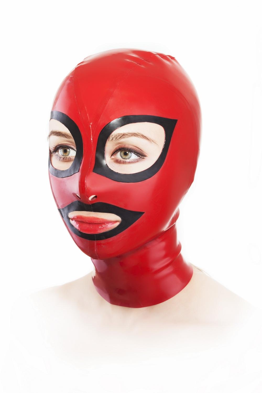 Маска из латекса с молнией сзади и контрастными глазами и ртом Latex Mask With Zipper