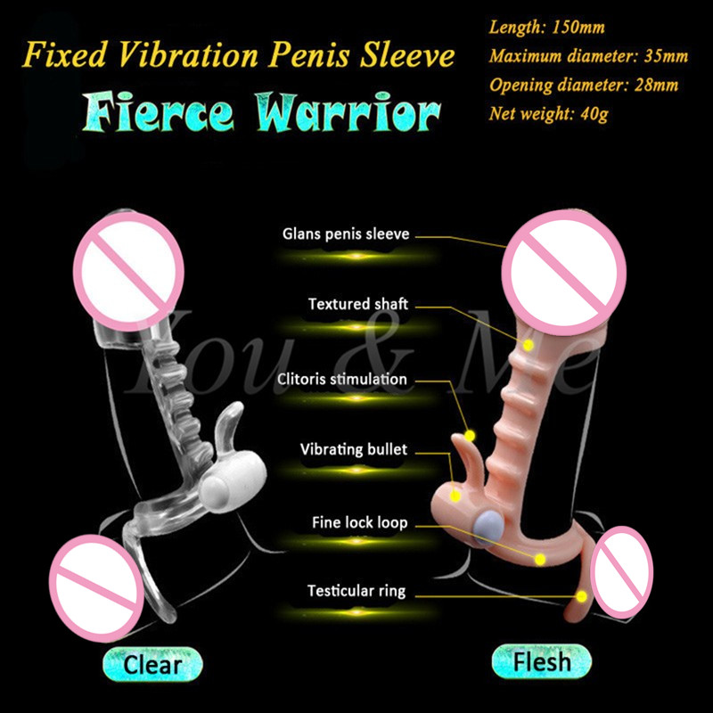 Reusable vibrating men penis sleeve condom enhancer g spot stimulator sex toy